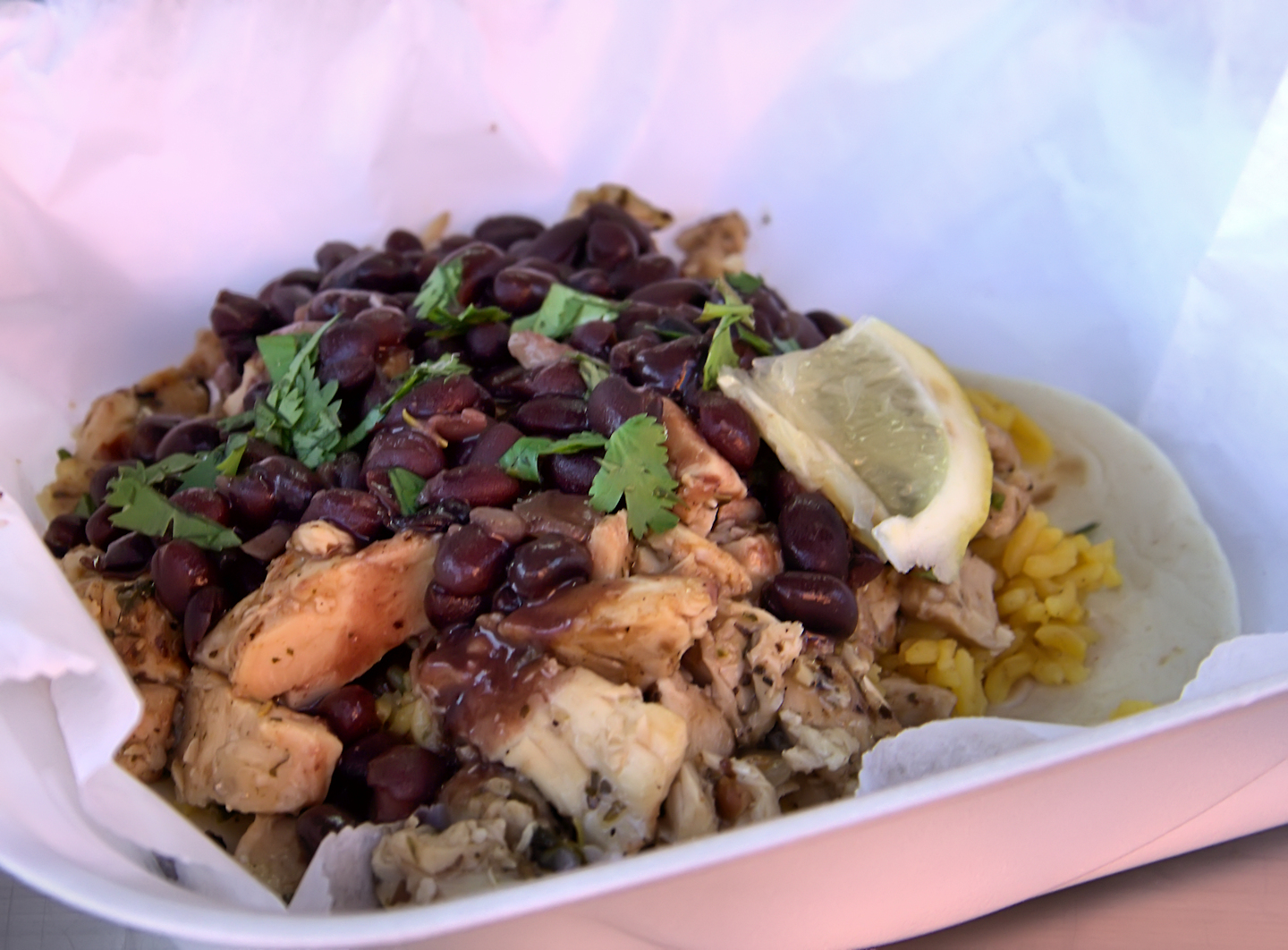 Mojo chicken with tortilla Jasmine rice and black beans