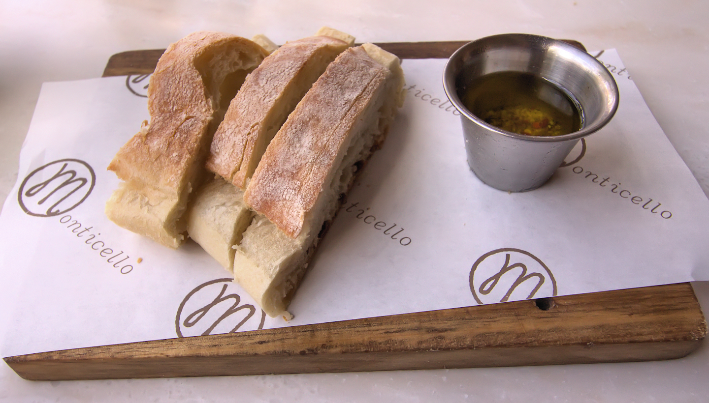 Ciabatta bread with herb Parmesan olive oil