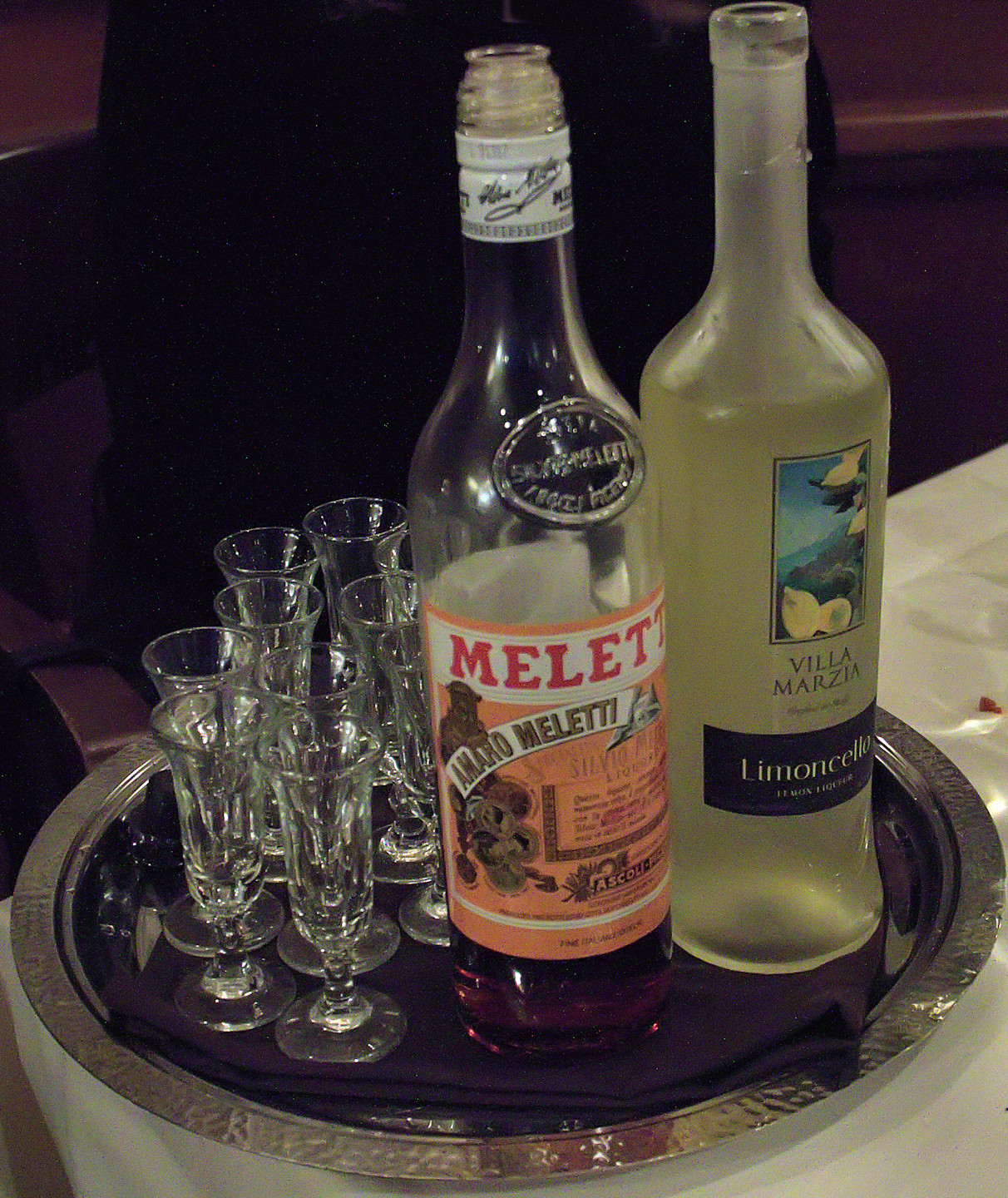 After dinner Amaro and Limoncello