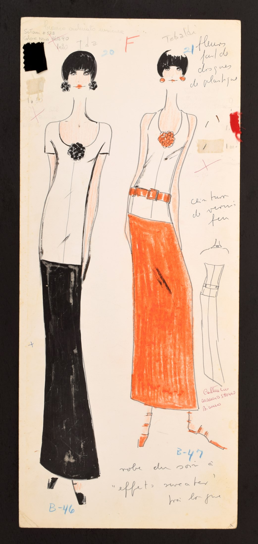 1960s hand-colored, hand-annotated original fashion drawing created by Karl Lagerfeld (German, 1933-2019) while engaged by House of Tiziani, Rome. Estimate: $500-$1,500