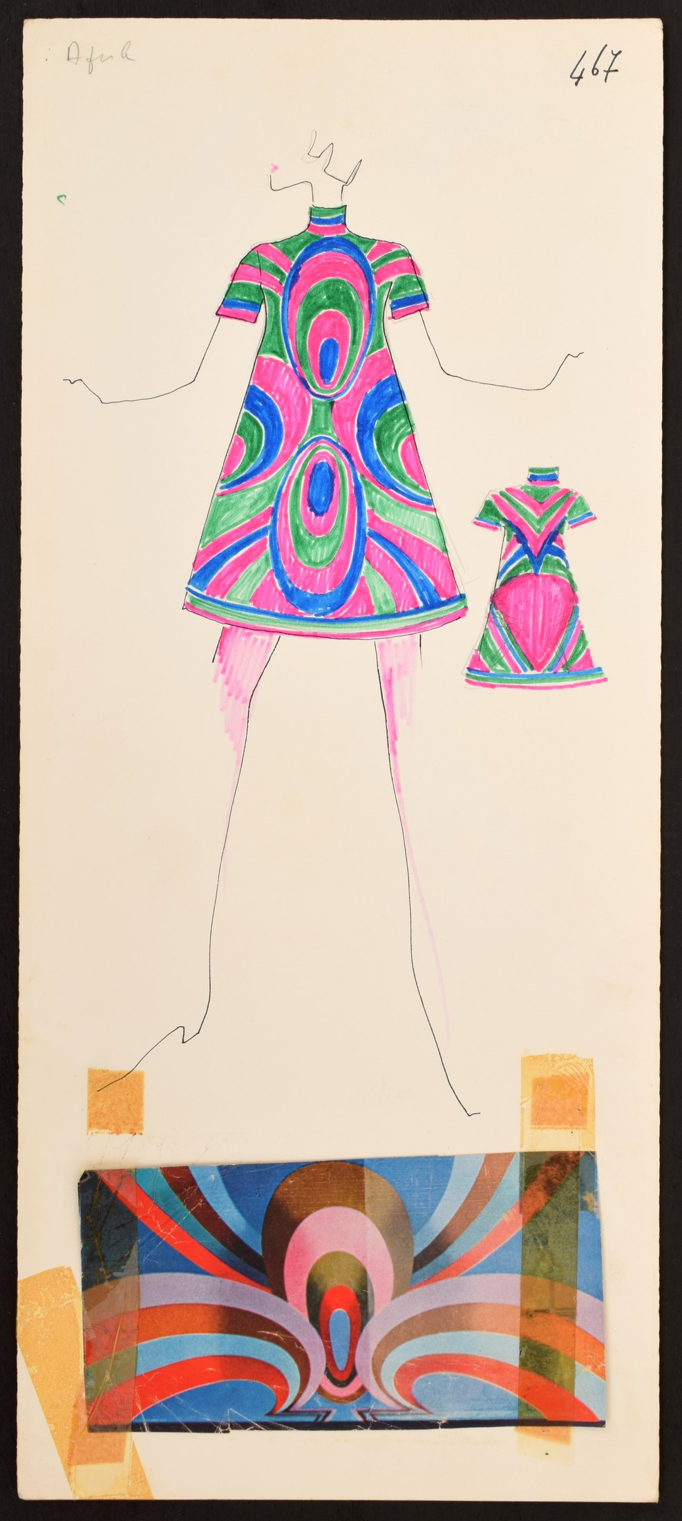 1960s hand-colored, hand-annotated original fashion drawing created by Karl Lagerfeld (German, 1933-2019) while engaged by House of Tiziani, Rome. Fabric swatch attached. Estimate: $500-$1,500