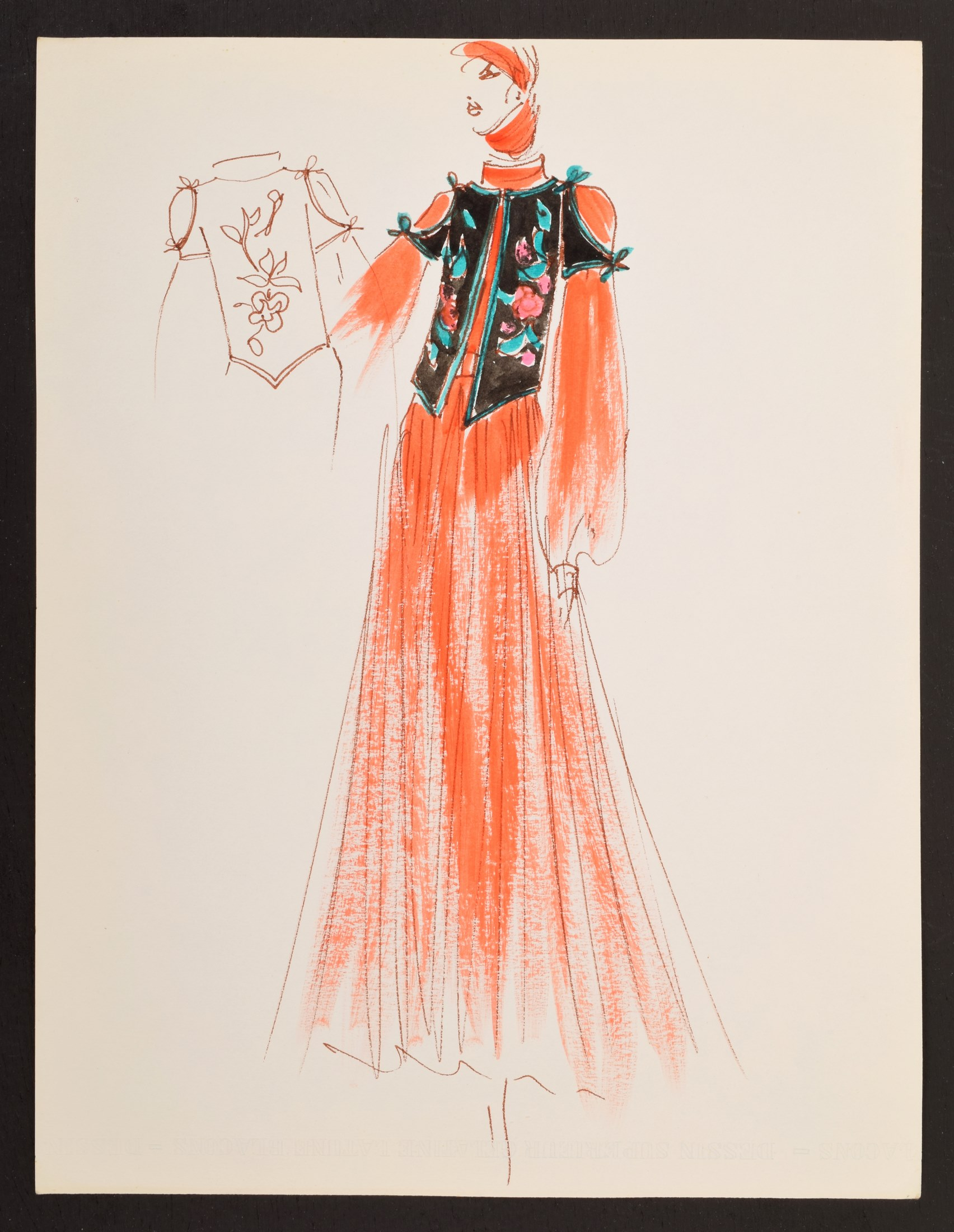 1960s hand-colored original fashion drawing created by Karl Lagerfeld (German, 1933-2019) while engaged by House of Tiziani, Rome. Estimate: $500-$1,500