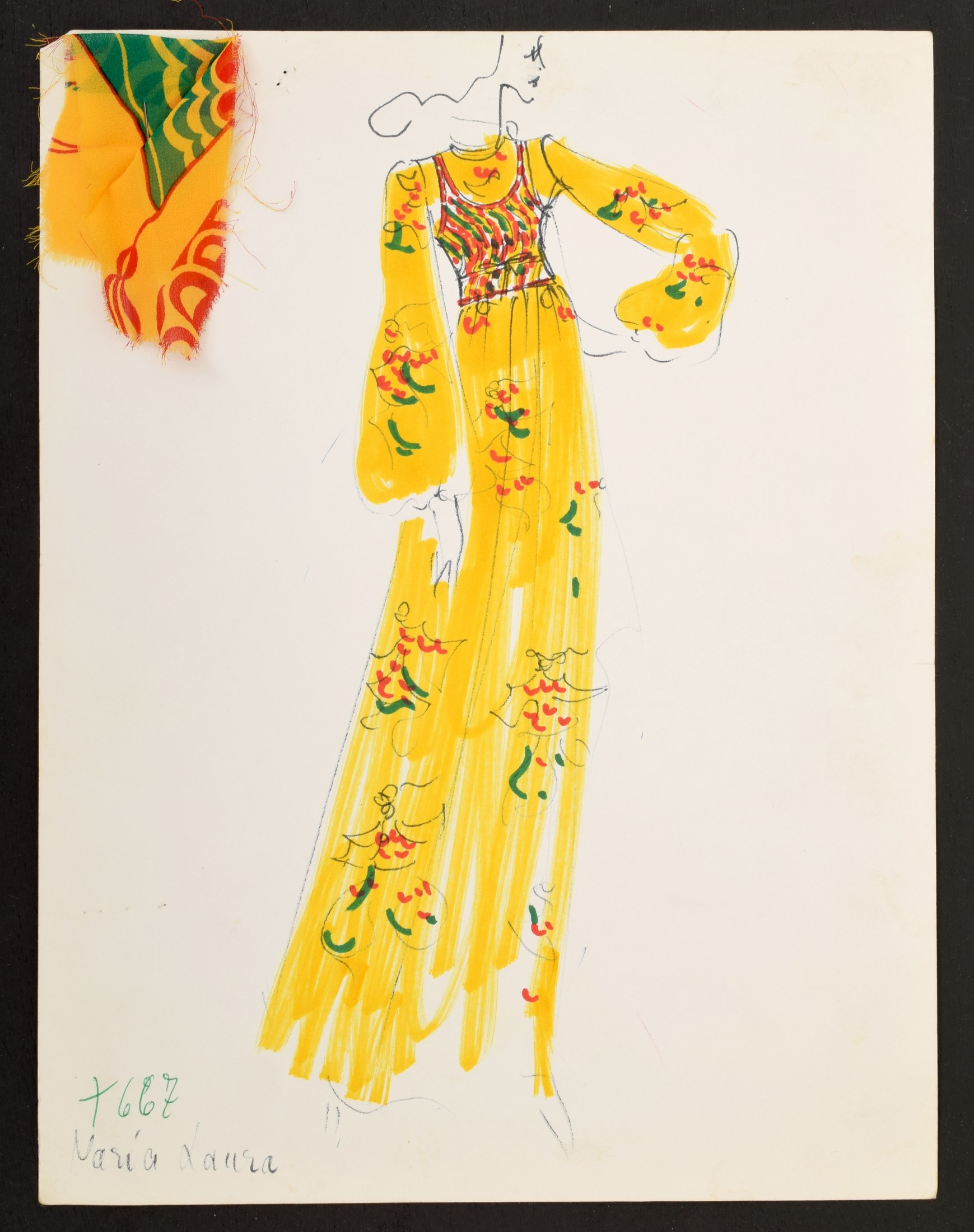 1960s hand-colored, hand-annotated original fashion drawing created by Karl Lagerfeld (German, 1933-2019) while engaged by House of Tiziani, Rome. Fabric swatch attached. Estimate: $500-$1,5001960s hand-colored, hand-annotated original fashion drawing created by Karl Lagerfeld (German, 1933-2019) while engaged by House of Tiziani, Rome. Fabric swatch attached. Estimate: $500-$1,500