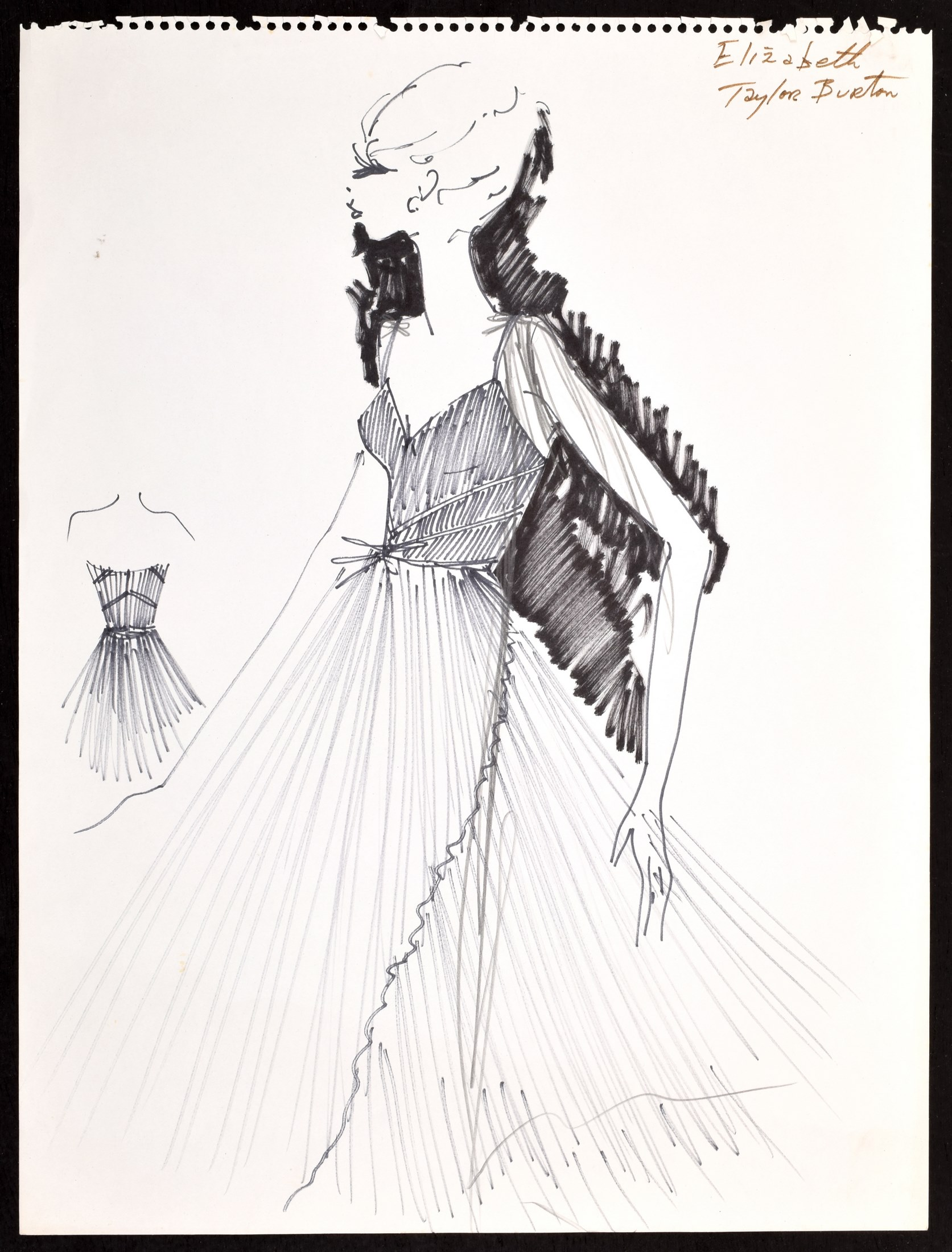 Large 1960s hand-drawn, hand-annotated original fashion drawing created by Karl Lagerfeld (German, 1933-2019) for a dress he designed for 'Elizabeth Taylor Burton' while at the House of Tiziani, Rome. Estimate: $1,000-$3,000
