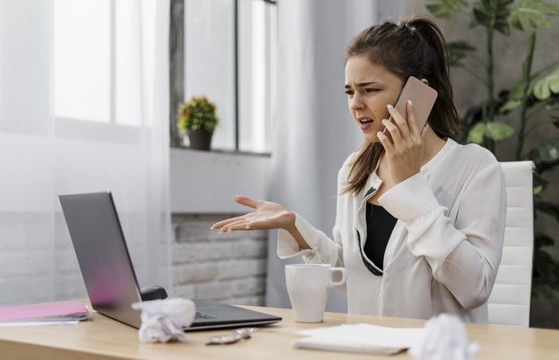 https://www.freepik.com/free-photo/businesswoman-looking-frustrated-while-having-call_11905099.htm#page=2&query=wfh+stress&position=18
